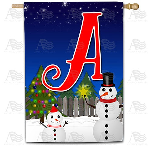 Snowman Christmas Tree Monogram Double Sided House Flag