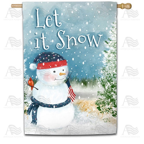 Let It Snow Watercolor Double Sided House Flag