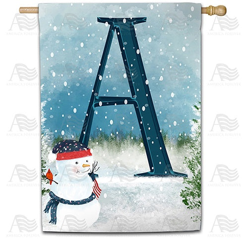 Let It Snow Watercolor Monogram Double Sided House Flag