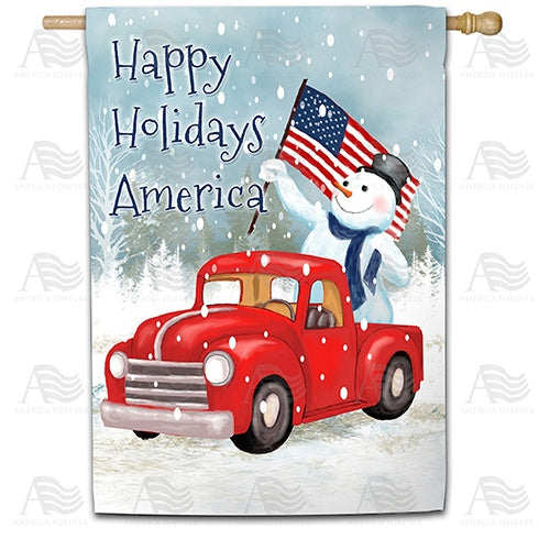 Happy Holidays America Double Sided House Flag