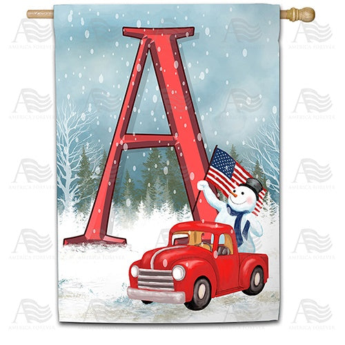 Happy Holidays America Monogram House Flag
