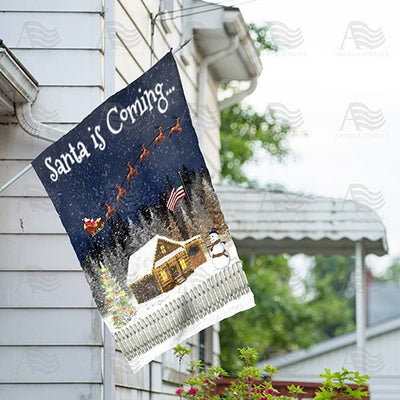 Santa is Coming Double Sided House Flag