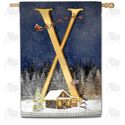 Santa Is Coming Double Sided Monogram House Flag