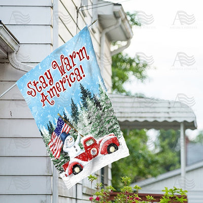 Stay Warm America Double Sided House Flag