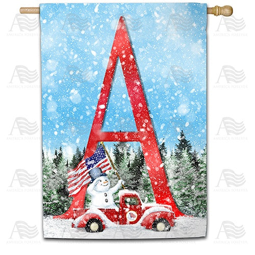Stay Warm America Double Sided Monogram House Flag