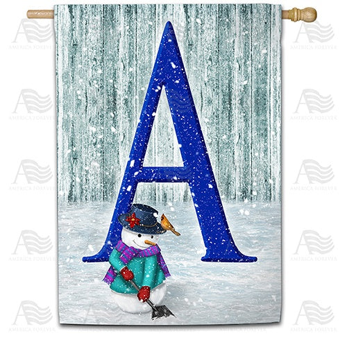 Just Keep Shovelin' Double Sided Monogram House Flag