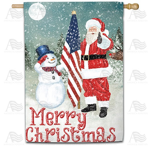 Merry Christmas USA Double Sided House Flag