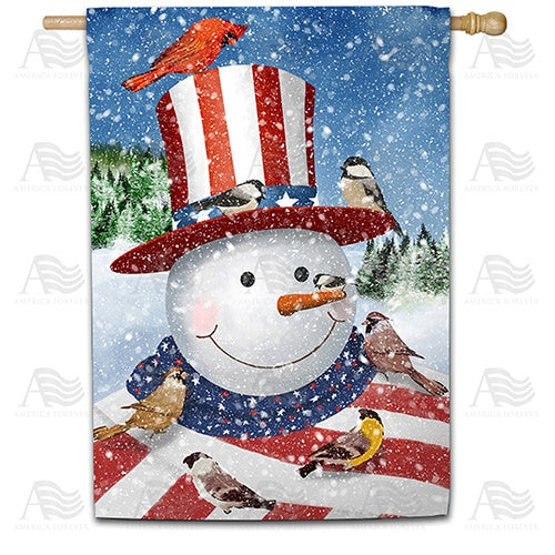 Uncle Snowman Double Sided House Flag