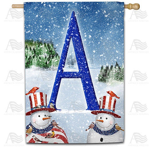 Uncle Snowman Double Sided Monogram House Flag
