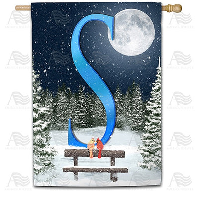 Winter Moon Double Sided Monogram House Flag