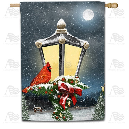 Winter Lamp Warmth Double Sided House Flag