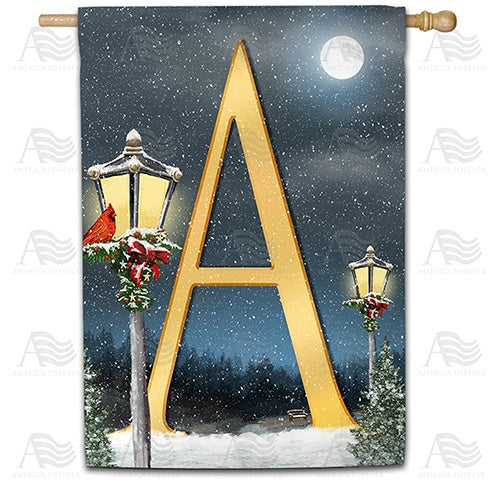 Winter Lamp Warmth Double Sided Monogram House Flag