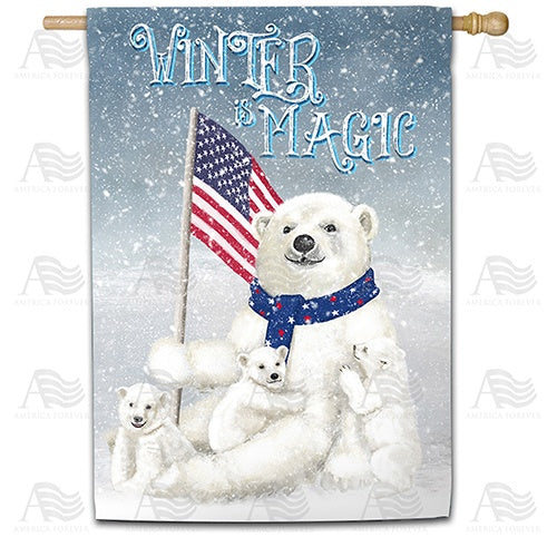 Polar Bear Snow Family Double Sided House Flag