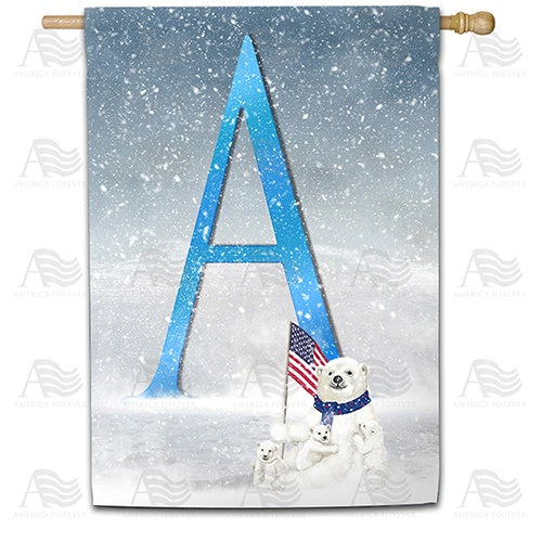 Polar Bear Snow Family Double Sided Monogram House Flag