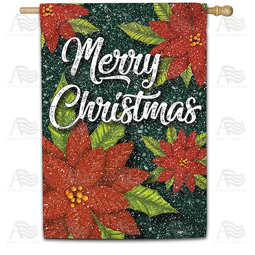 Snowy Poinsettias Double Sided House Flag