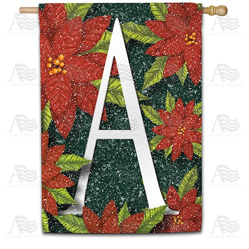 Snowy Poinsettias Double Sided Monogram House Flag