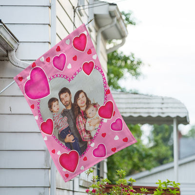 Personalized Valentine's Day Hearts House Flag