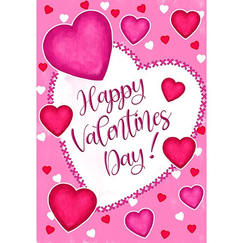 Happy Valentine's Day Hearts Double Sided House Flag