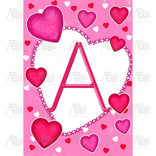Happy Valentine's Day Hearts Monogram House Flag