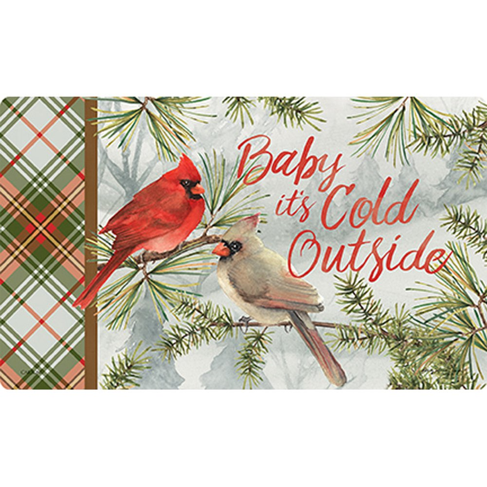 Winter Cardinal Pair Doormat