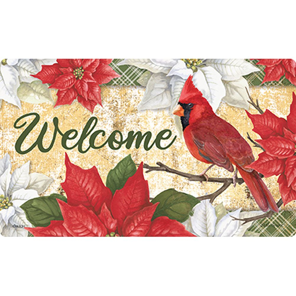 Christmas Cardinal Poinsettias Doormat