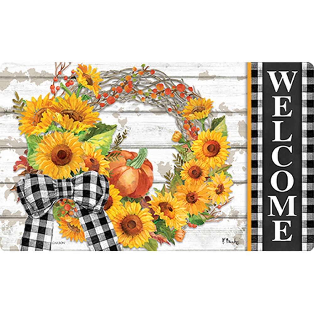 Sunflower Wreath Welcome Doormat
