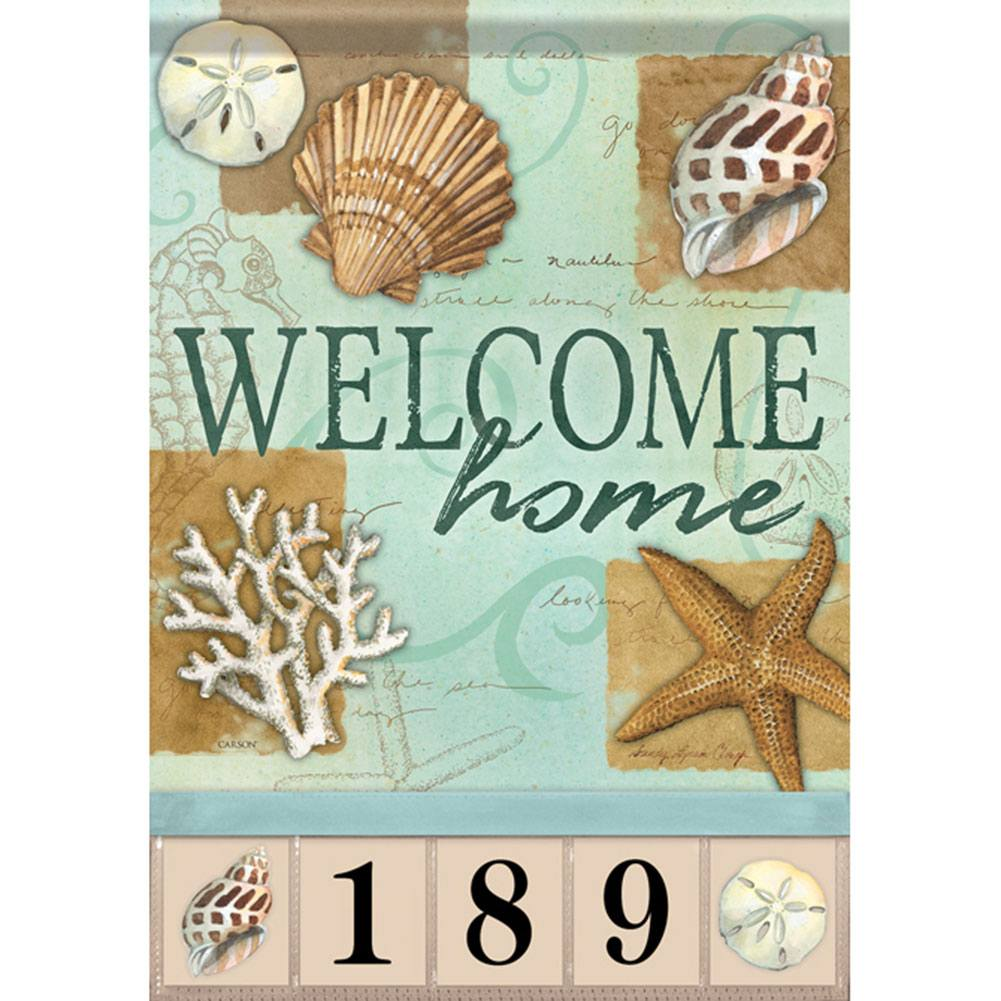 Beach Shells Address Garden Flag