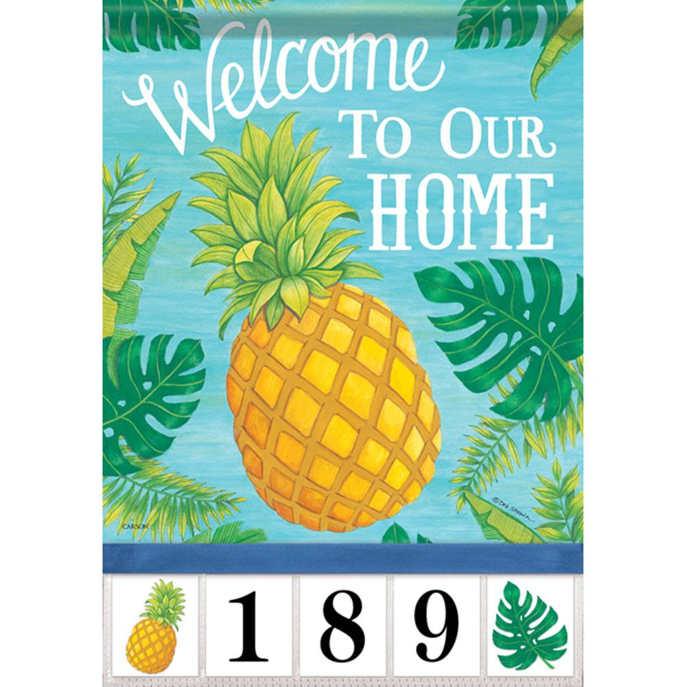 Pineapple Greetings Address Garden Flag