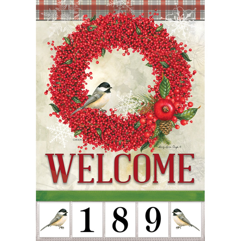 Winterberry Welcome Address Garden Flag