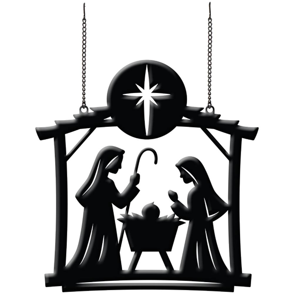 Nativity Scene Metal Garden Flag