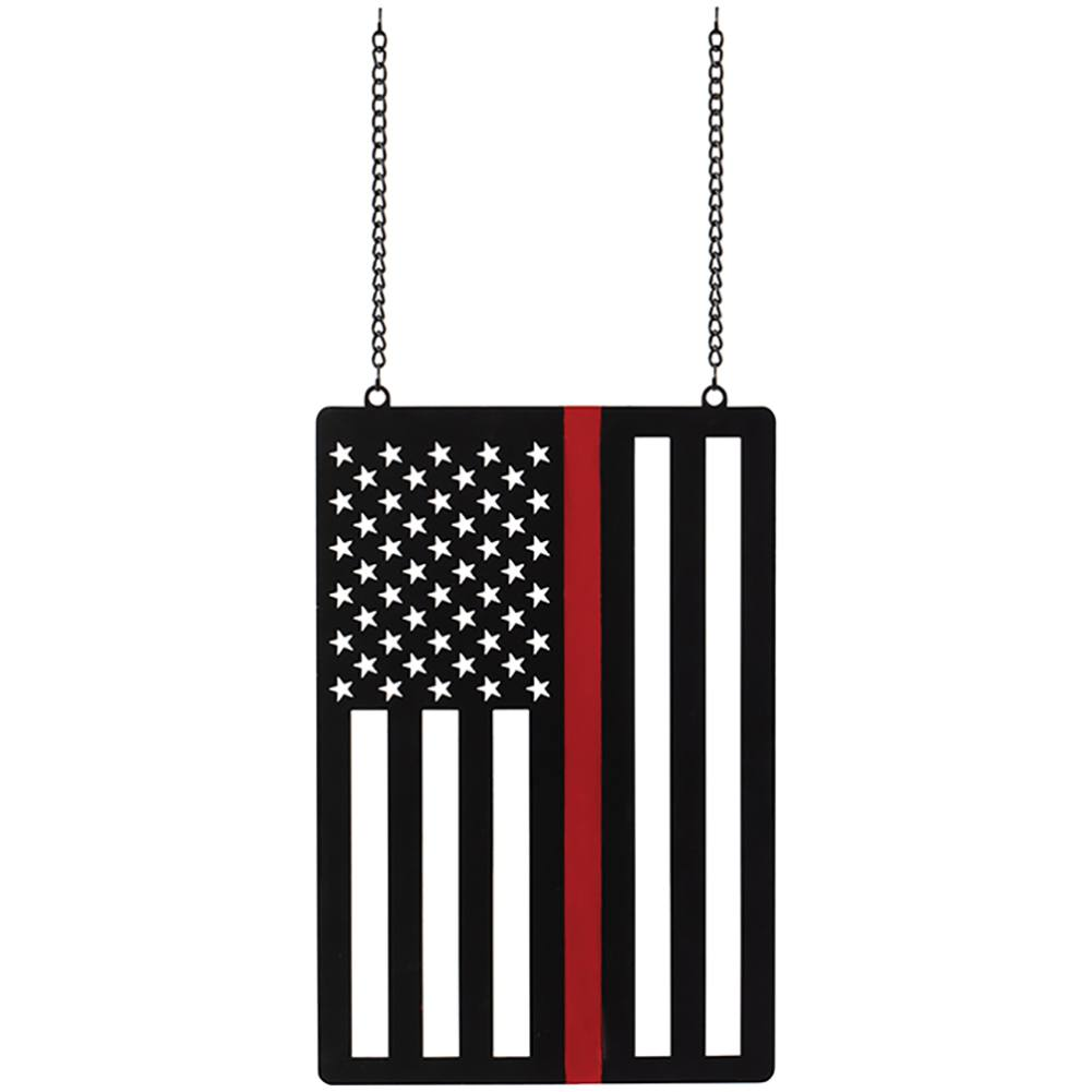 Thin Red Line Metal Garden Flag