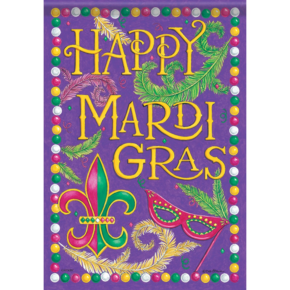 Happy Mardi Gras Masks Double Sided Garden Flag