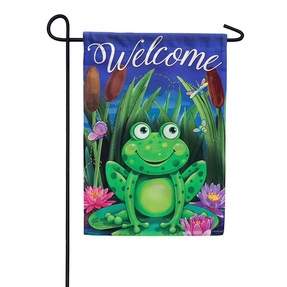 Evening on the Lily Pad Double Sided Garden Flag