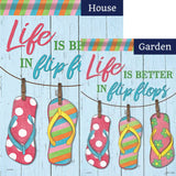 Life is Better in Flip Flops Beach Double Sided Flags Set (2 Pieces)
