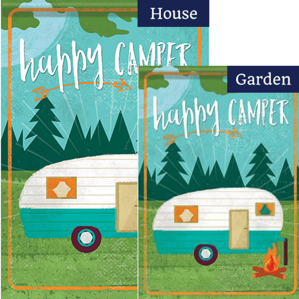 Happy Camper Campfire Double Sided Flags Set (2 Pieces)