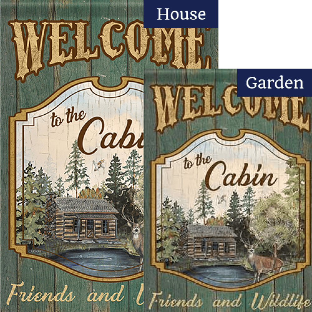 Welcome to the Cabin Double Sided Flags Set (2 Pieces)