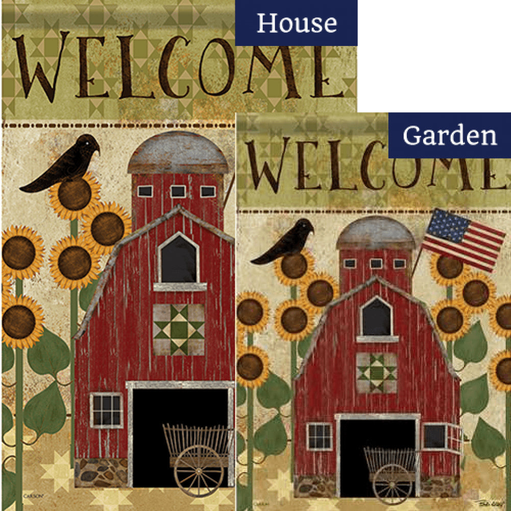 Americana Barn Double Sided Flags Set (2 Pieces)