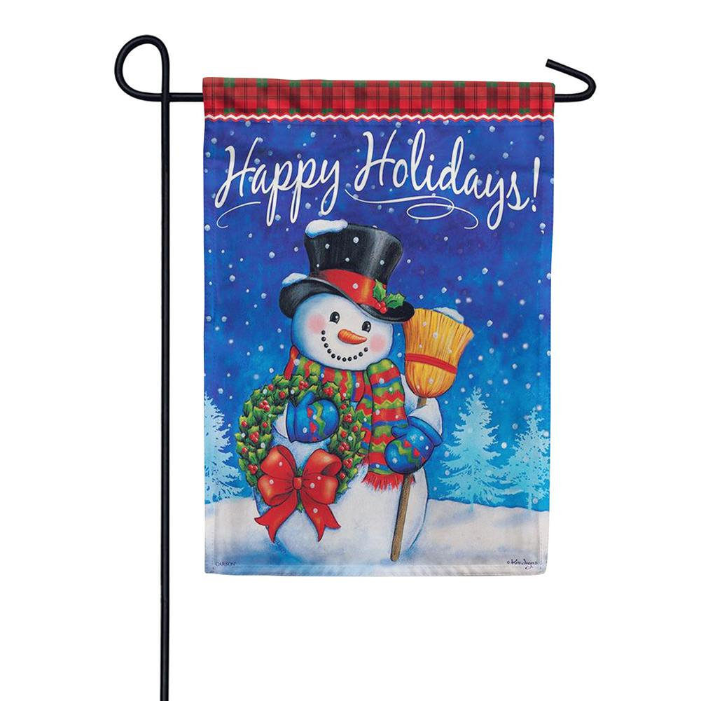 Traditional Snowman Double Sided Garden Flag