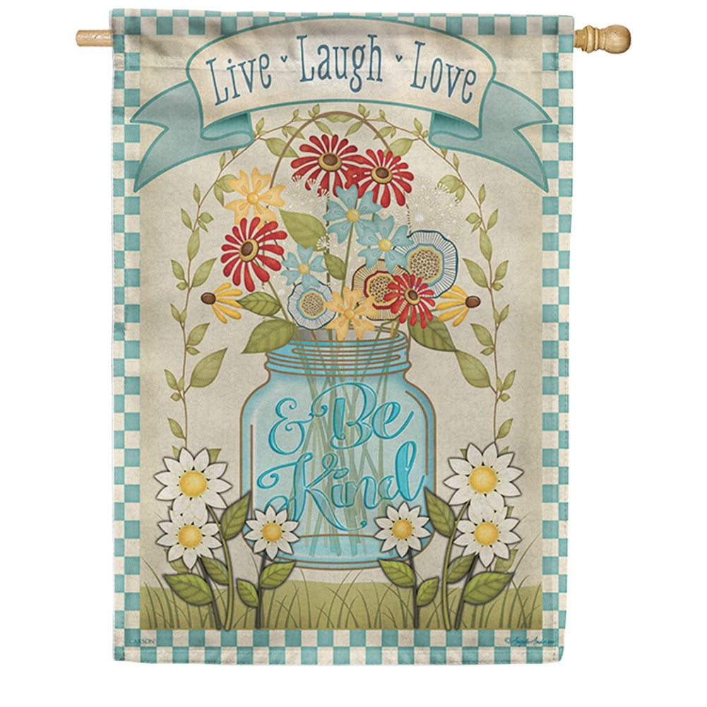 Mason Jar Floral Double Sided House Flag
