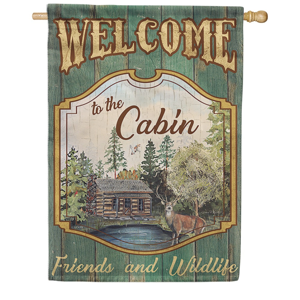 Welcome to the Cabin Double Sided House Flag