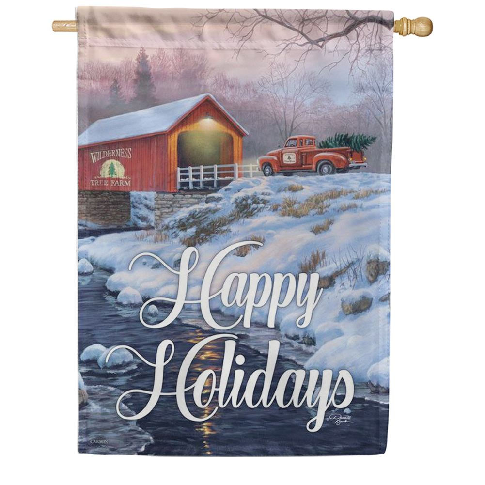 Covered Bridge Holidays Double Sided House Flag