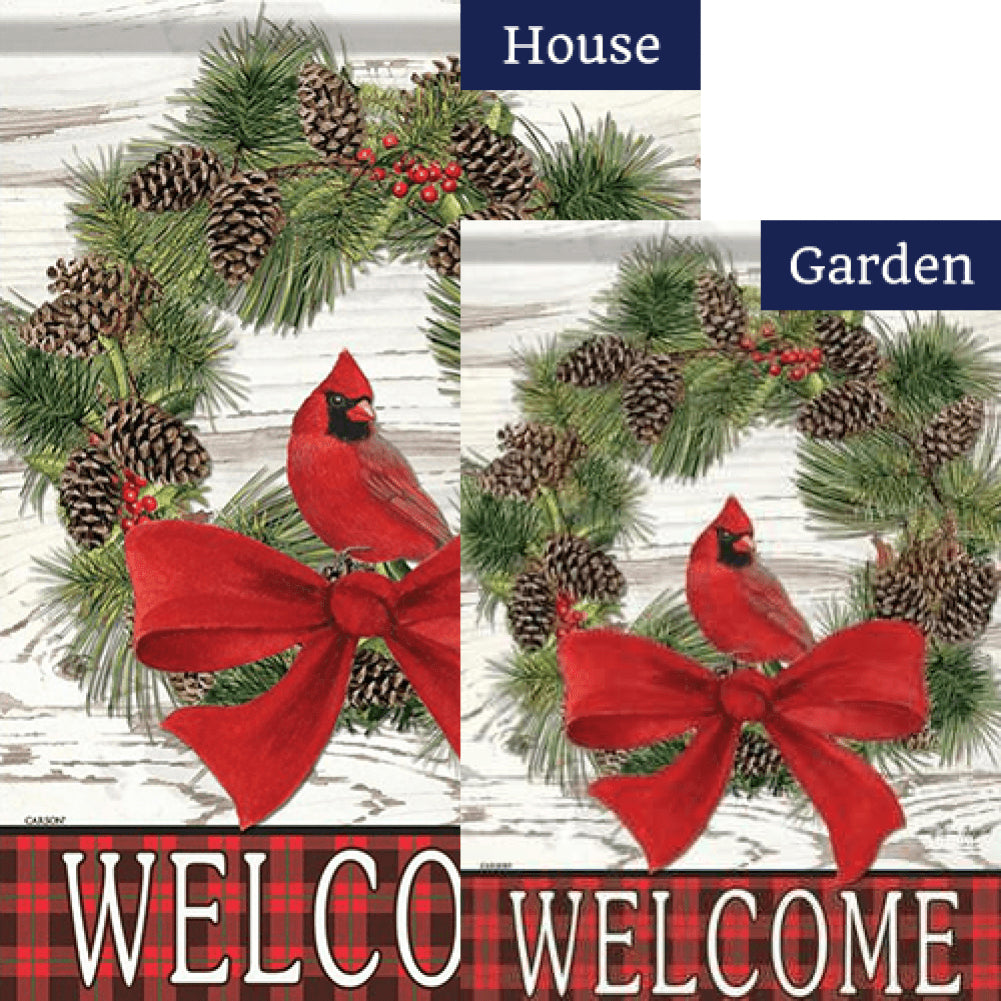 Welcome Cardinal Wreath Double Sided Flags Set (2 Pieces)