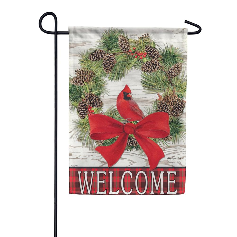 Welcome Cardinal Wreath Double Sided Garden Flag