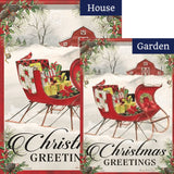 Holiday Sled Double Sided Flags Set (2 Pieces)