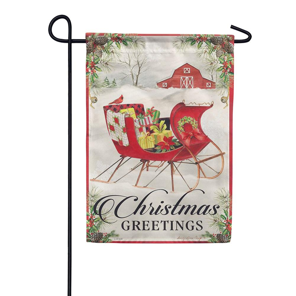 Holiday Sled Double Sided Garden Flag