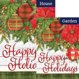 Plaid/Poinsettias Double Sided Flags Set (2 Pieces)