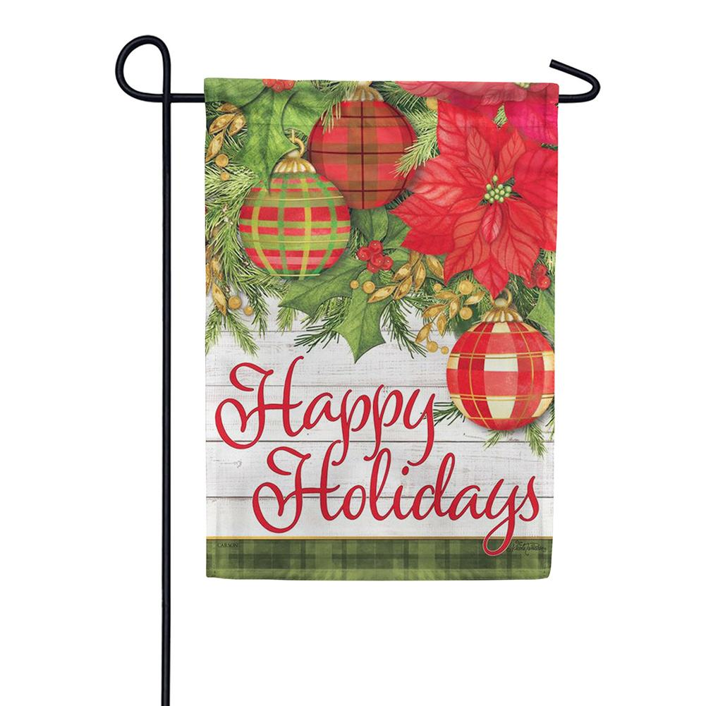 Plaid/Poinsettias Double Sided Garden Flag