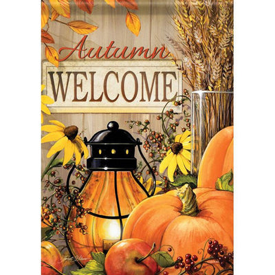 Fall Lantern Welcome Double Sided Garden Flag