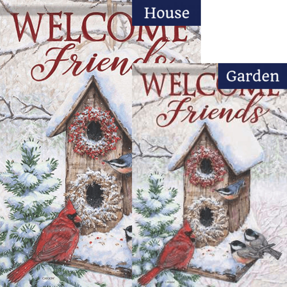 Hanging Winter Birdhouse Double Sided Flags Set (2 Pieces)