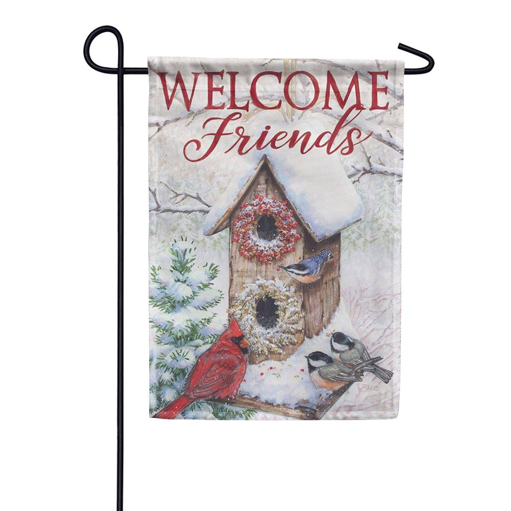 Hanging Winter Birdhouse Double Sided Garden Flag